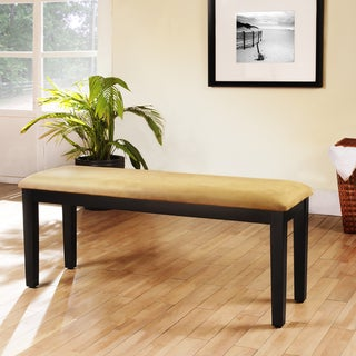 Wilmington Gold Microfiber Black Wood Base 48-inch Dining Bench by iNSPIRE Q Classic
