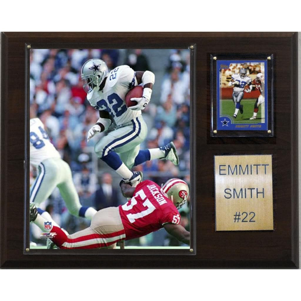 Emmitt Smith 12x15 Cherry Wood Player Plaque