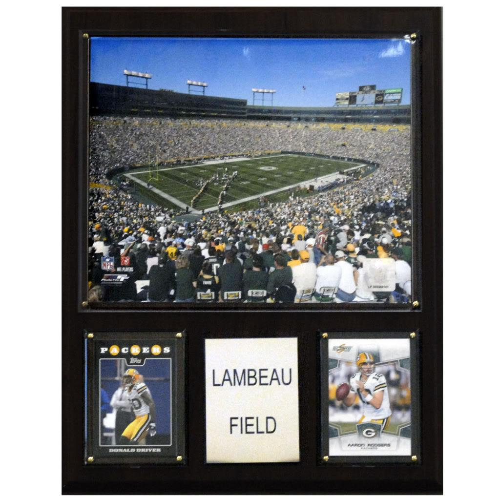 Green Bay Packers Lambeau Field 12x15 Cherry Wood Arena Plaque