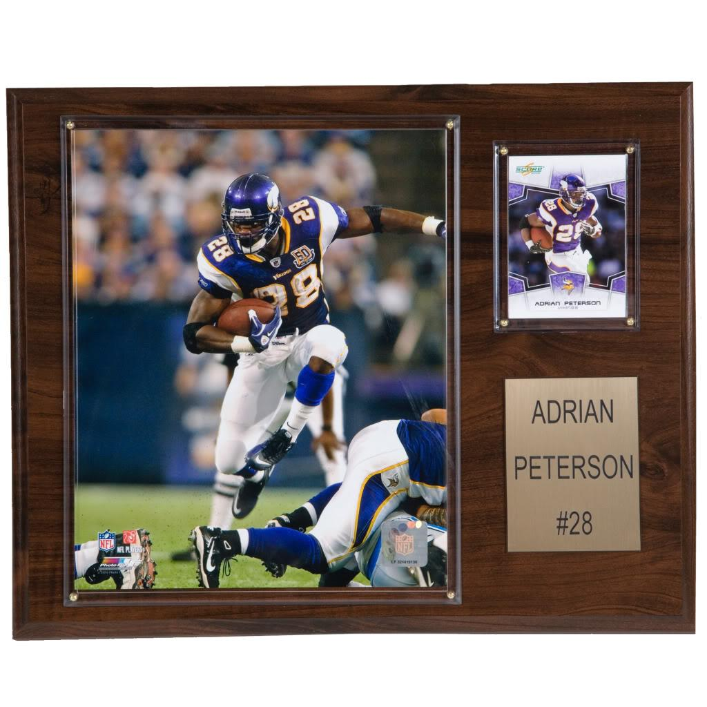 Adrian Peterson 12x15 Cherry Wood Player Plaque