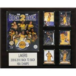 Los Angeles Lakers Back-to-back NBA Champion 12x15 Cherry Wood Plaque - Thumbnail 0