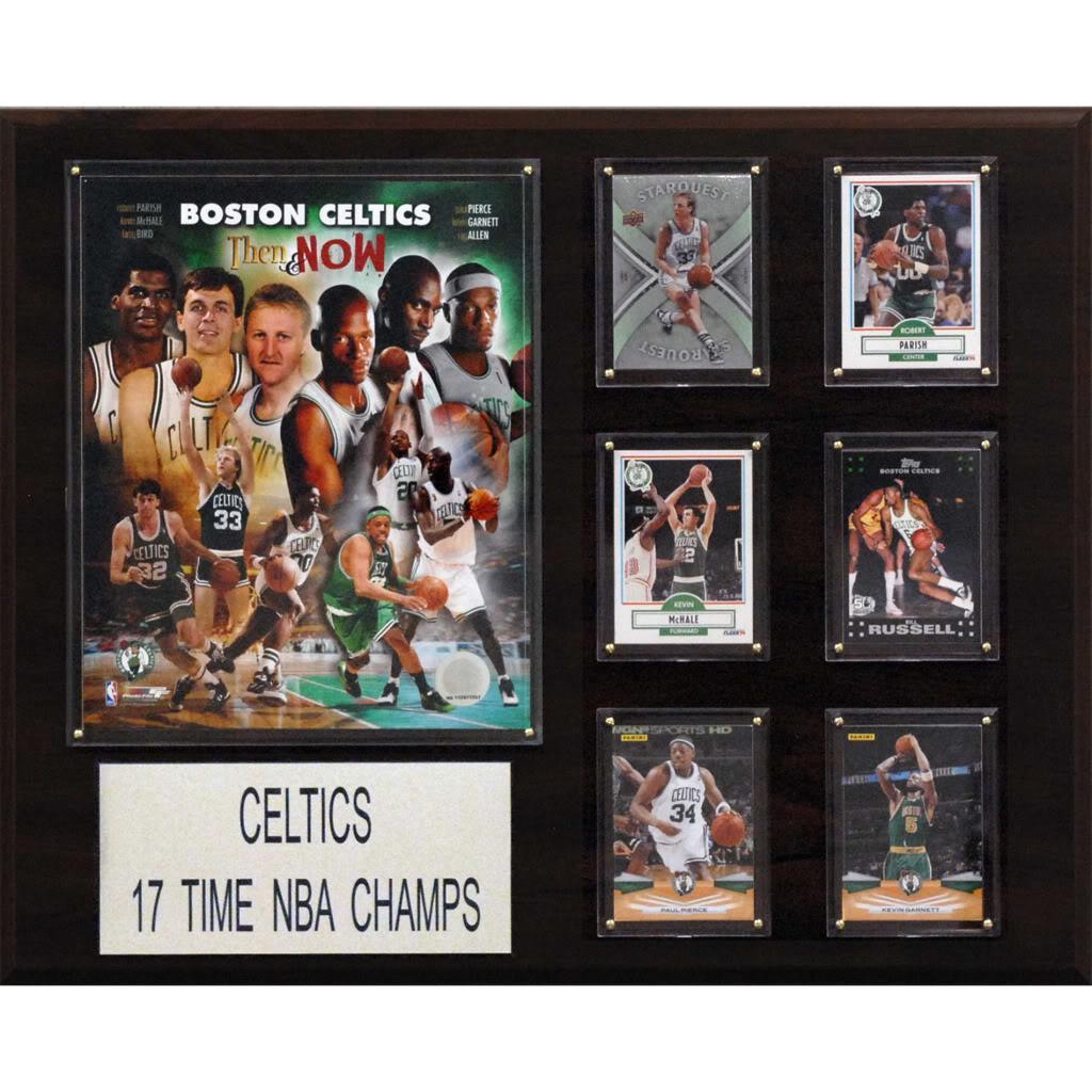 Boston Celtics 17x NBA Champion 12x15 Cherry Wood Plaque