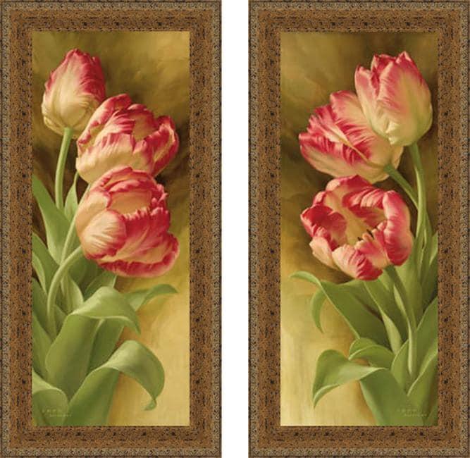 Igor Levashov 'Spring's Parrot Tulips I & II' Framed Print Art