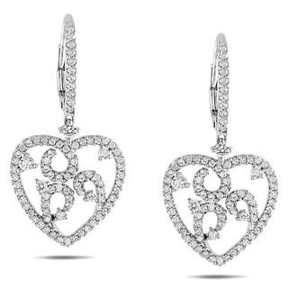 Miadora Signature Collection 14k White Gold 1ct TDW Diamond Heart Earrings