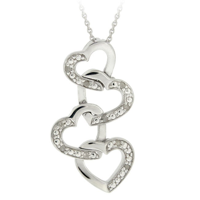DB Designs Sterling Silver 1/10ct TDW Diamond Dangling Heart Necklace
