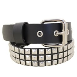 Entourage Young Men's Black Faux Leather Skinny Studded Belt