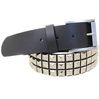 Unisex Three-row Pyramid Studded Belt