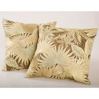 Brown Tropical Floral Outdoor Decorative Pillows (Set of 2)