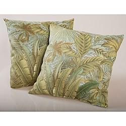 Blue Tropical Foliage Outdoor Decorative Pillows (Set of 2)