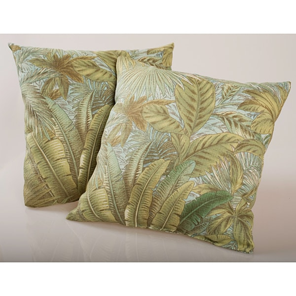 Shop Blue Tropical Foliage Outdoor Decorative Pillows Set