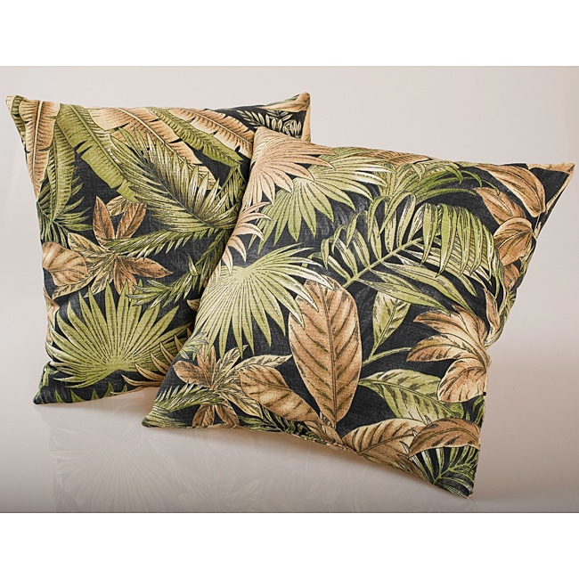 Black Tropical Foliage Outdoor Decorative Pillows Set Of
