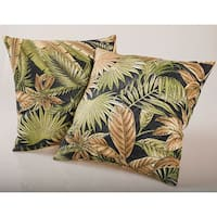Black Tropical Foliage Outdoor Decorative Pillows (Set of 2)