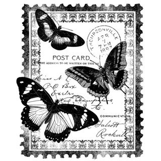 Magenta Cling Papillion Post Card Stamp