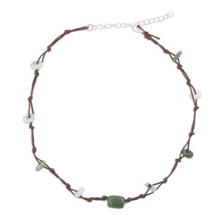 Handmade Stainless Steel 'Harmonious Life' Jade Necklace (Thailand)