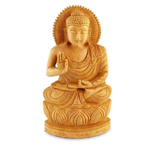 Kadam Wood 'Buddha Hopes for Peace on Earth' Statue (India)