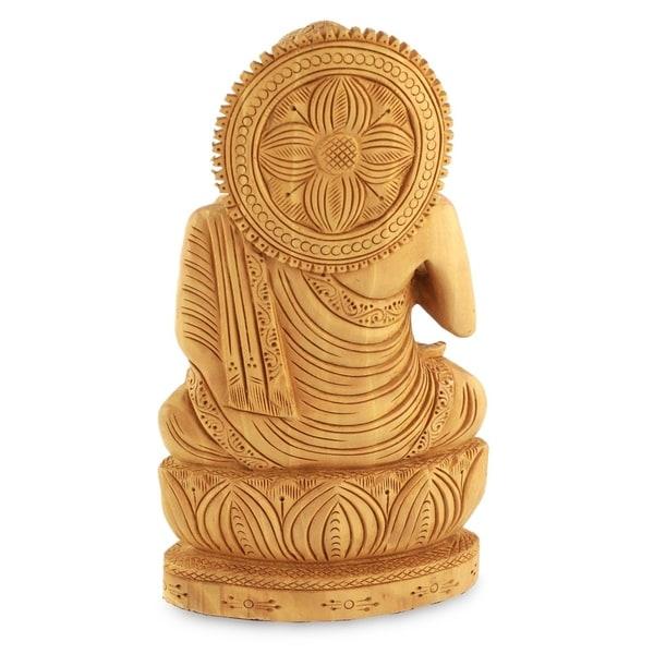 Kadam Wood Buddha Hopes for Peace on Earth Statue (India)