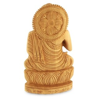 Kadam Wood 'Buddha Hopes for Peace on Earth' Statue (India)