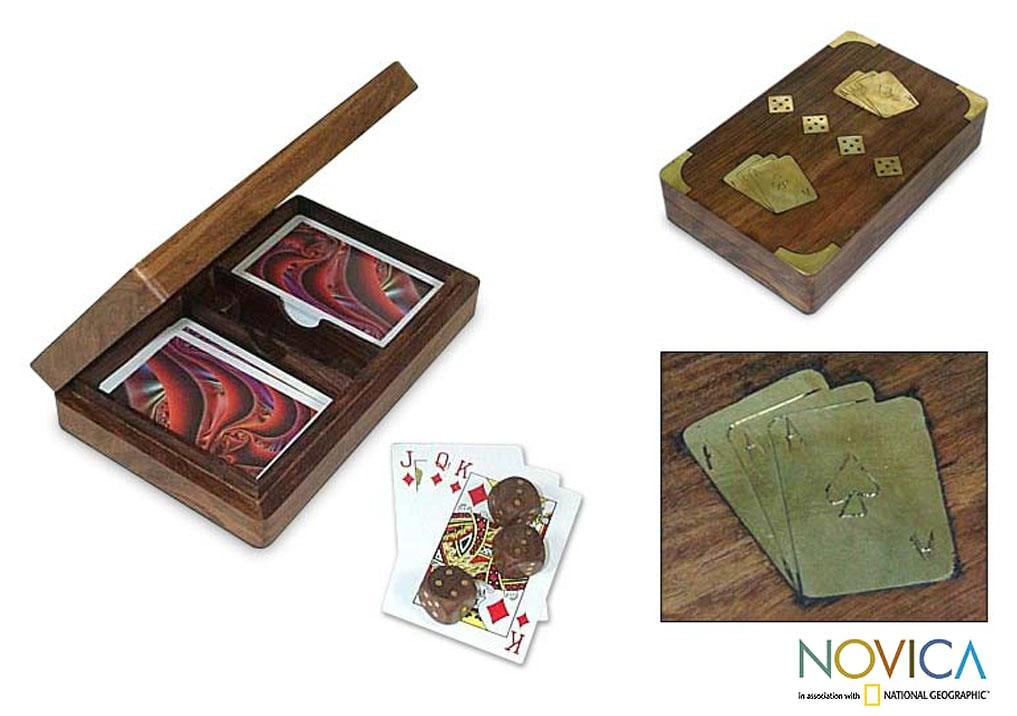 Handcrafted Sheesham Wood 'Lady Luck' Box and Game Set (India)