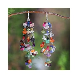 Handmade Sterling Silver 'Rainbow Rain' Multi-gemstone Earrings (Thailand)
