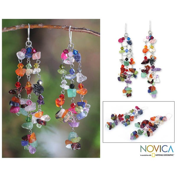 Handmade Sterling Silver 'Rainbow Rain' Multi-gemstone Earrings (Thailand)