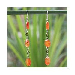 Handmade Sterling Silver 'Tangerine Marmalade' Carnelian Drop Earrings (Thailand)