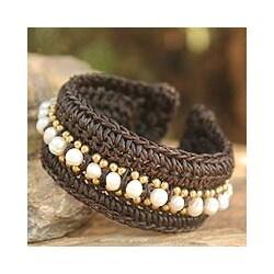 Handmade Pearl 'Thai Supreme' Cuff Bracelet (4.5-5 mm) (Thailand)