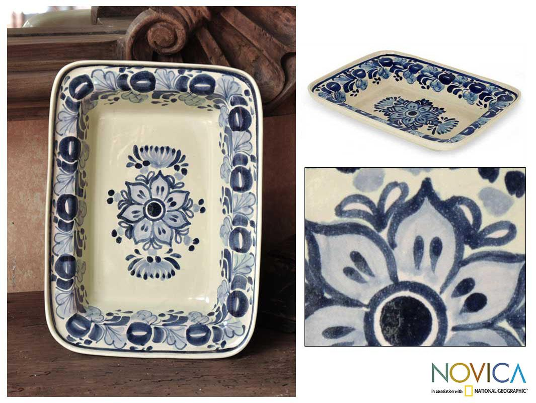 Handmade Ceramic 'Colonial Bouquet' Majolica Decorative Plate (Mexico) - Thumbnail 0