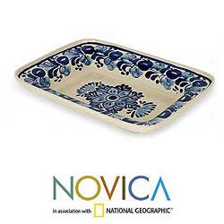 Handmade Ceramic 'Colonial Bouquet' Majolica Decorative Plate (Mexico) - Thumbnail 1