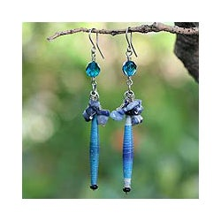 Stainless Steel 'Hope' Sodalite Cluster Earrings (Brazil)