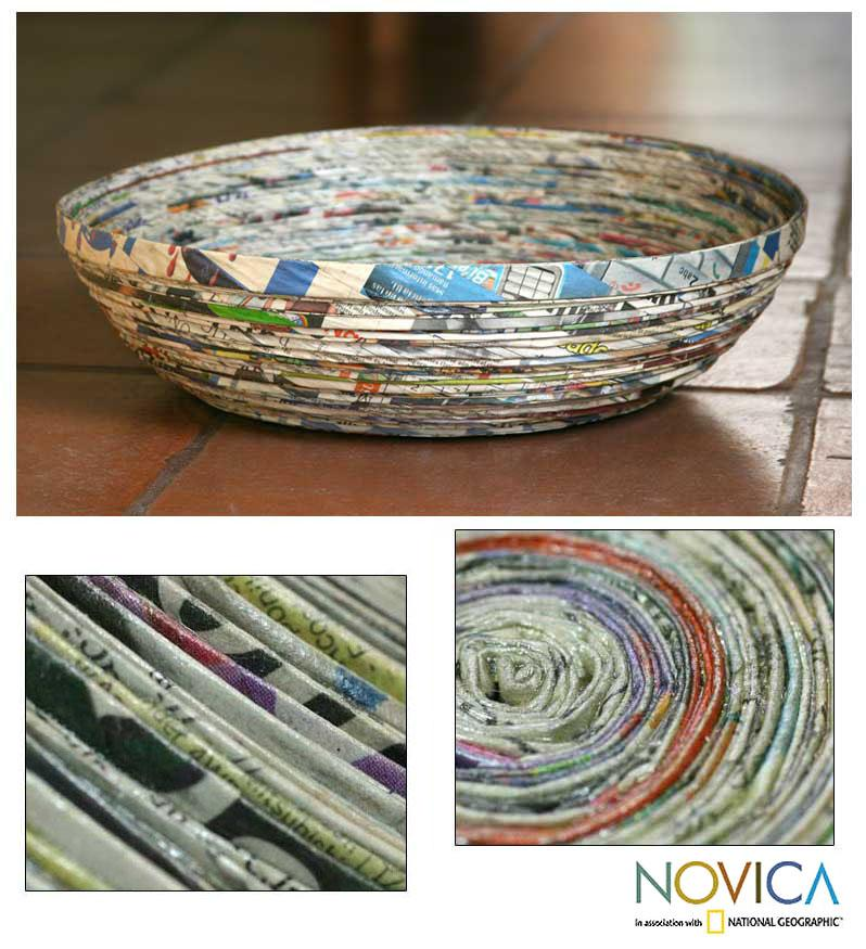 Handmade Recycled Paper 'Vortex' Decorative Bowl (Guatemala)