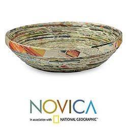 Handmade Recycled Paper 'Vortex' Decorative Bowl (Guatemala) - Thumbnail 1