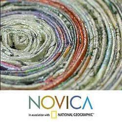 Handmade Recycled Paper 'Vortex' Decorative Bowl (Guatemala) - Thumbnail 2