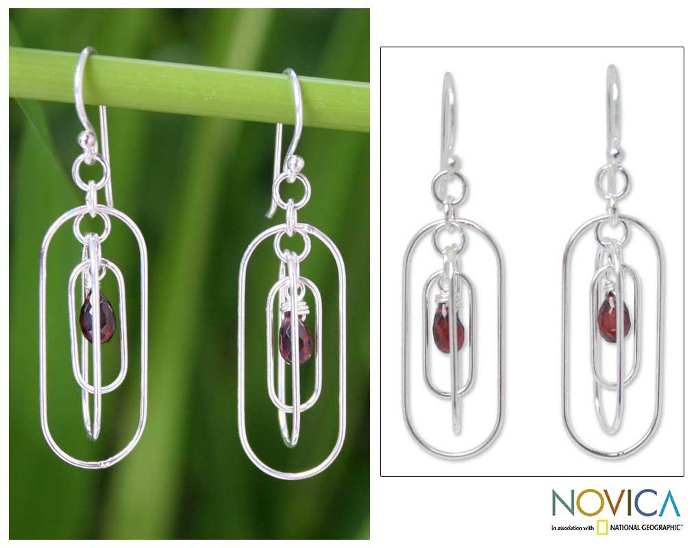 Handcrafted Sterling Silver 'Lucky Love' Garnet Earrings (Thailand)