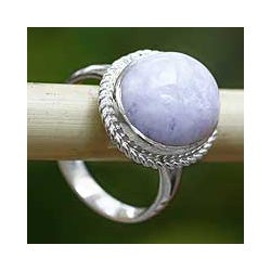 Sterling Silver 'Eternal Love' Lavender Jade Cocktail Ring (Guatemala)