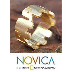 Handmade Gold Overlay 'Elephant Pride' Ring (Thailand)