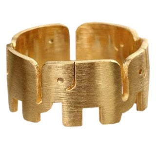 Handmade Gold Overlay 'Elephant Pride' Ring (Thailand)