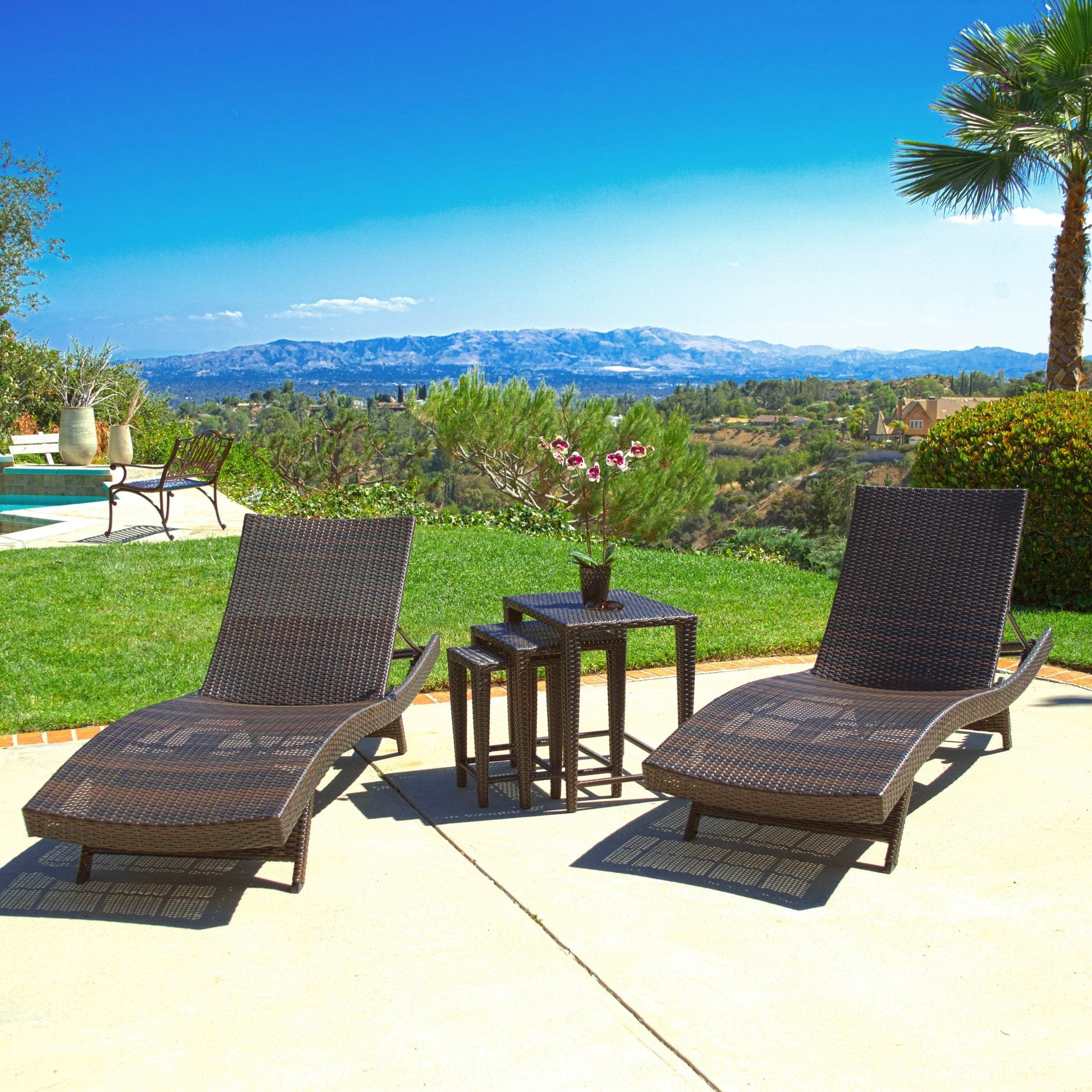 Outdoor Brown Wicker 5-piece Adjustable Chaise Lounge Set...