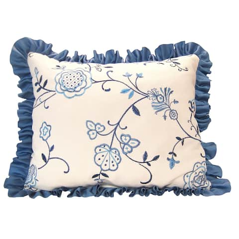 RLF Home Belle Embroidery Decorative Ribbon Ruffled Pillow - Porcelain
