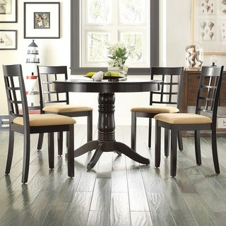 TRIBECCA HOME Wilma Black Round Pedestal 5-piece Dining Set