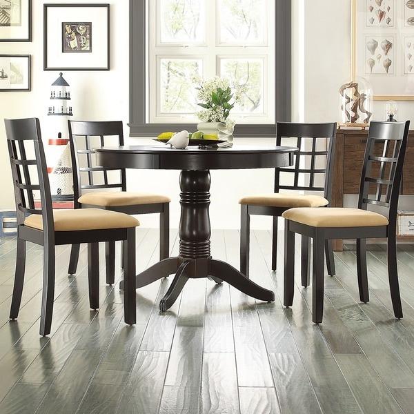 Black Round Dining Set: Wilma Black Round Pedestal 5-piece Dining Set By INSPIRE Q