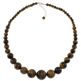 Pearlz Ocean Tigers Eye Graduated Necklace with Sterling Silver Clasp