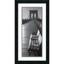 Brooklyn Bridge Benches' 14 x 26-inch Framed Art Print