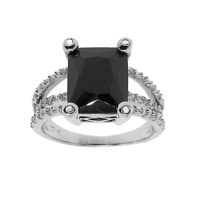 Sterling Silver Black and White Cubic Zirconia Ring