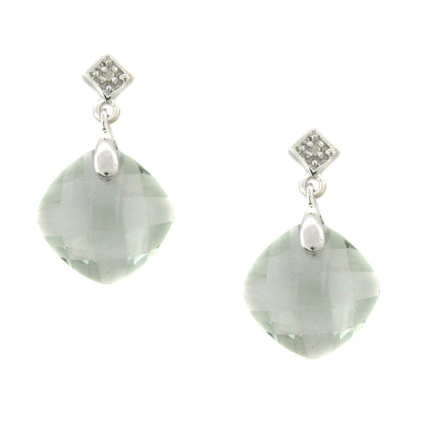 Dolce Giavonna Sterling Silver Green Amethyst and Diamond Dangle Earrings