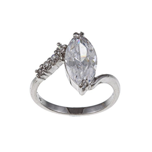 White Gold Overlay Marquise Clear Cubic Zirconia Cocktail Ring
