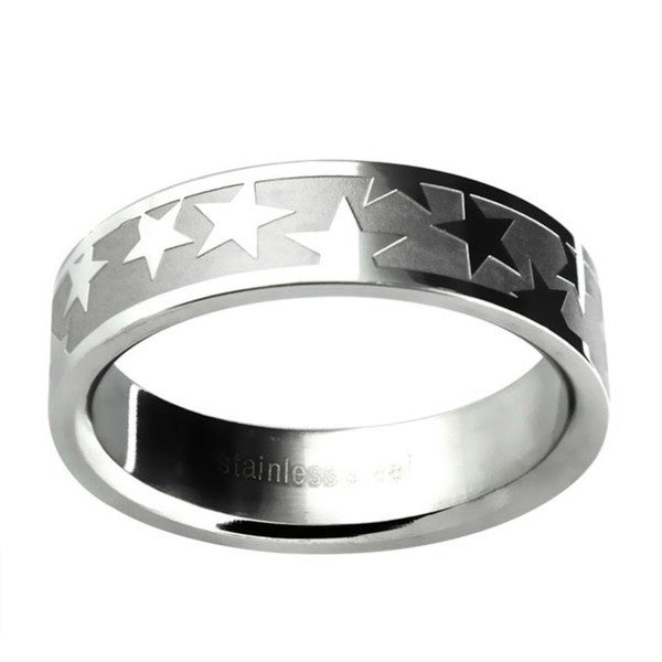 Stainless Steel Women's Etched Star Wedding-style Band