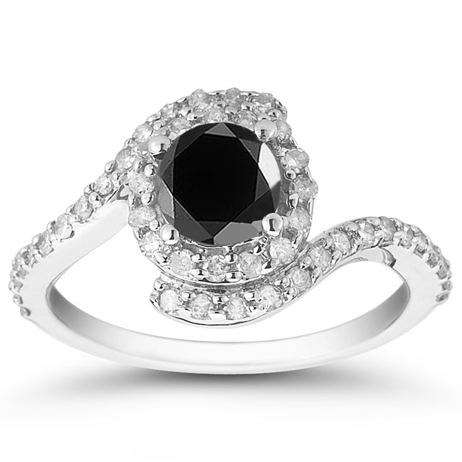 Marquee Jewels 10k White Gold 1 1/2ct TDW Black and White Diamond Halo Ring (I-J, I1-I2)