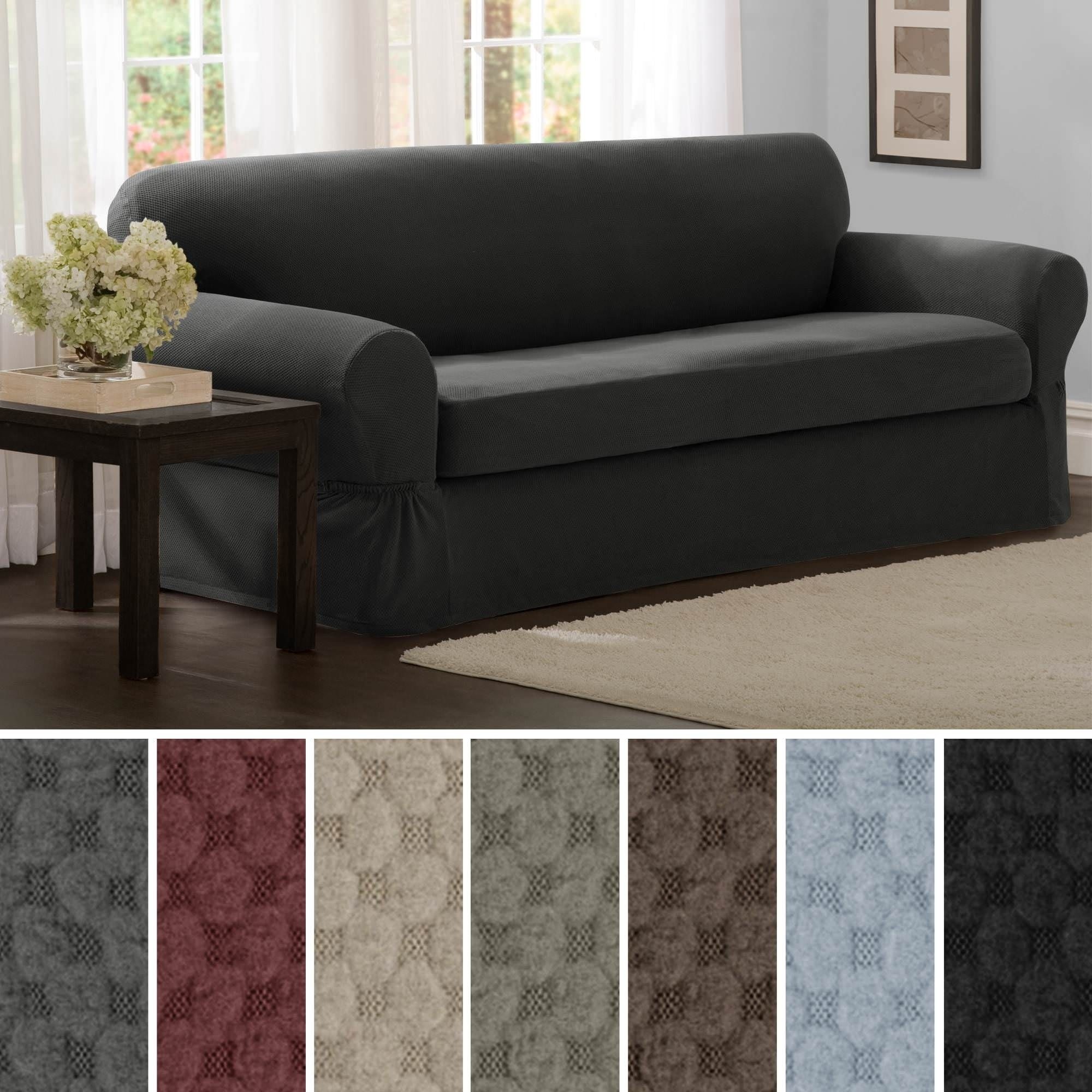 Maytex Stretch 2 Piece Pixel Sofa Slipcover Furniture Cover Ebay