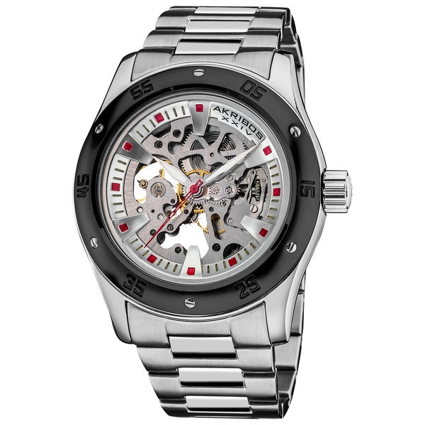 Akribos XXIV Men's Skeleton Automatic Stainless Steel Bracelet Watch