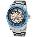 Akribos XXIV Men's Skeleton Automatic Blue Bracelet Watch